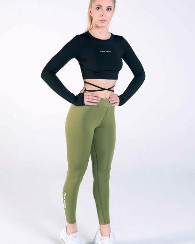 Оливковые леггинсы с поясом с открытым носком Gym Hero