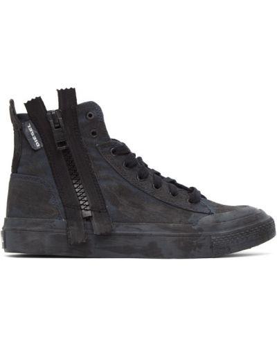 Черные текстильные высокие кроссовки на каблуке с заплатками Diesel