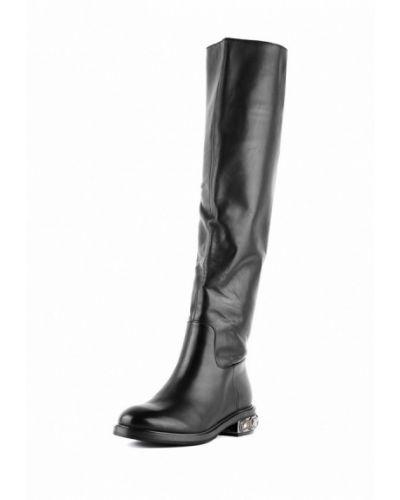 Черные ботфорты кожаные Sasha Fabiani