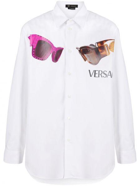 Koszula z długim rękawem z logo prosto Versace