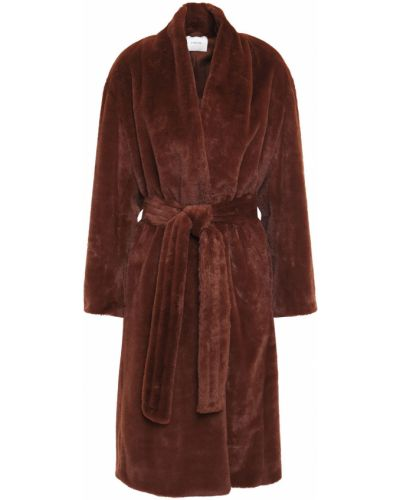 Коричневое пальто из искусственного меха с карманами Vince.