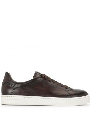 Кожаные коричневые кроссовки на шнуровке Magnanni