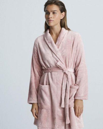 Розовый халат осенний Oysho