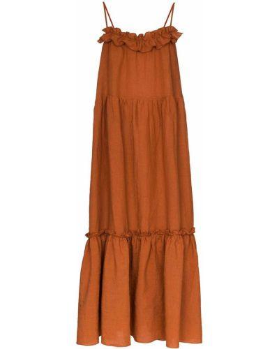 Льняное коричневое платье макси с вырезом Araks