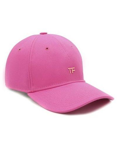 Кожаная розовая бейсболка с декоративной отделкой Tom Ford