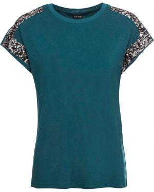 Блузка с коротким рукавом с пайетками короткая Bonprix