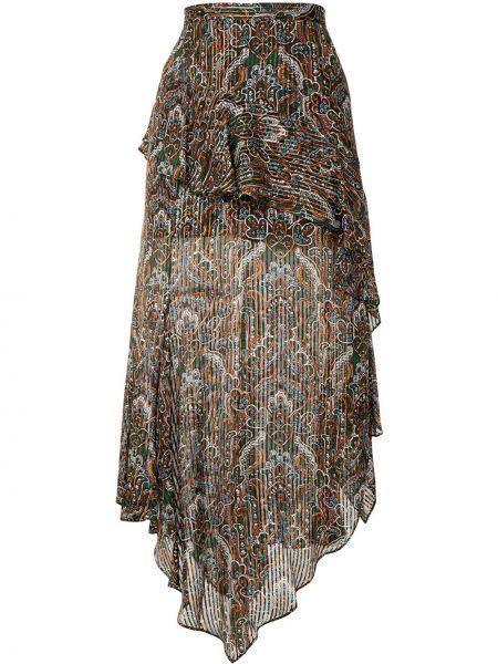 Шелковая коричневая с завышенной талией юбка миди Veronica Beard