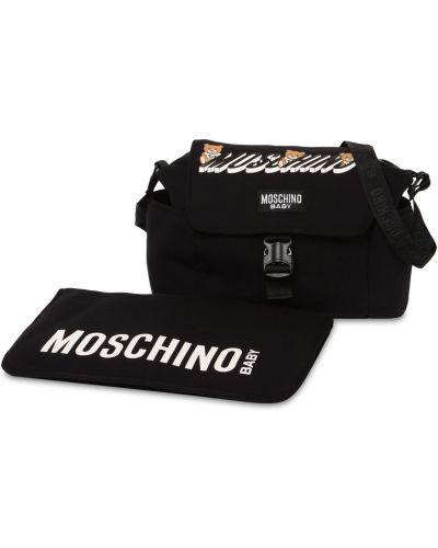Czarna torba na ramię z klamrą Moschino