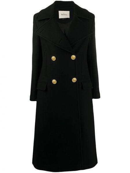 Черное шерстяное длинное пальто с лацканами с карманами Mulberry