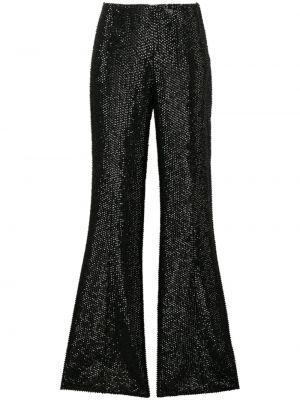 Расклешенные шелковые черные брюки Alberta Ferretti