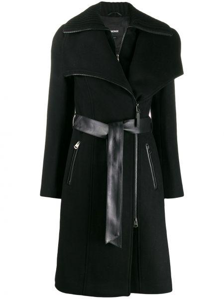 Шерстяное черное пальто с воротником Mackage