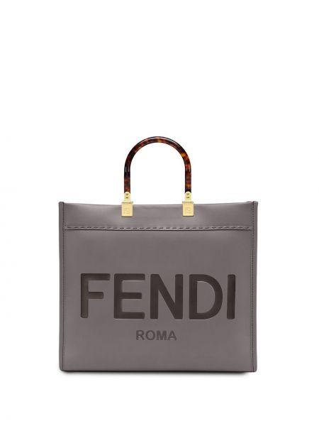 Кожаная сумка - серая Fendi