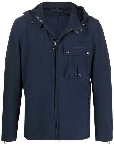 Klasyczny niebieski z rękawami kurtka z kapturem z kieszeniami Belstaff