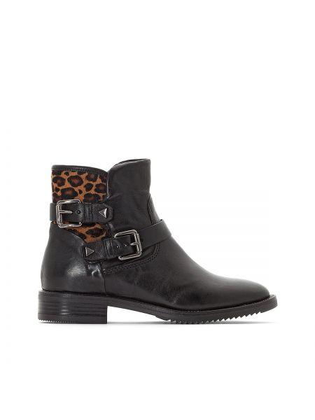 Кожаные черные ботинки на каблуке круглые с подкладкой Mjus