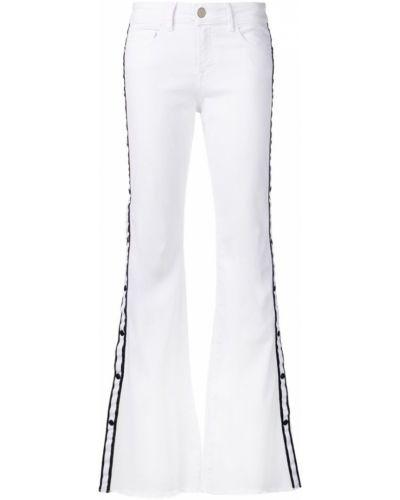 Расклешенные джинсы белые на пуговицах Don't Cry