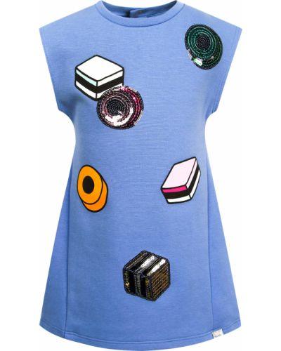 Синее хлопковое платье Little Marc Jacobs