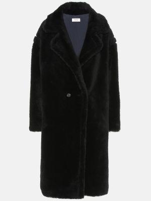 Прямое шерстяное черное пальто Yves Salomon