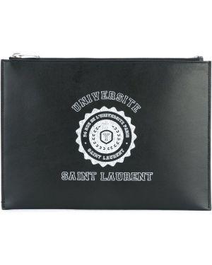 Клатч кожаный черный Saint Laurent