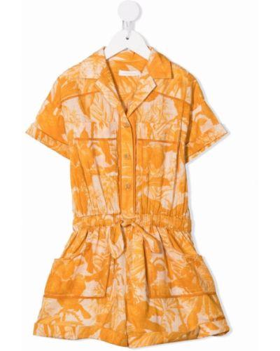 Żółty kombinezon krótki bawełniany z printem Zimmermann Kids