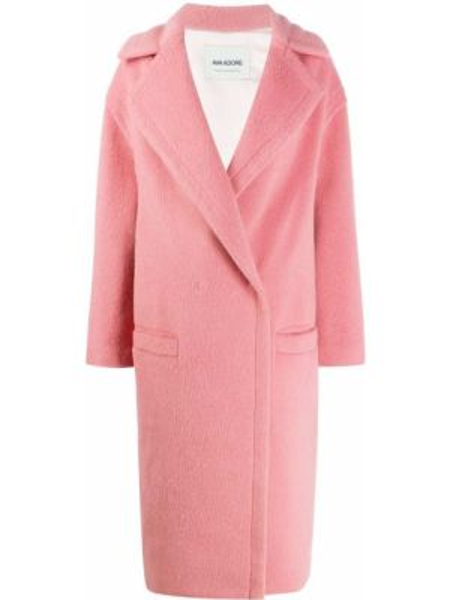 Розовое пальто с запахом из альпаки с карманами Ava Adore