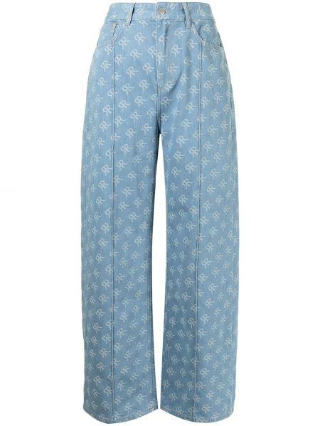 Niebieskie mom jeans z printem Rokh
