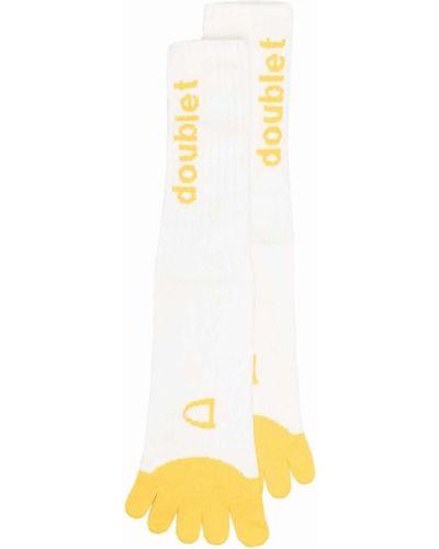 Prążkowane białe skarpety bawełniane Doublet