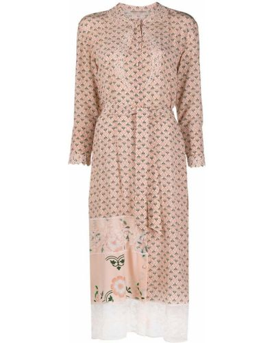 Шелковое розовое кружевное платье макси Ermanno Scervino