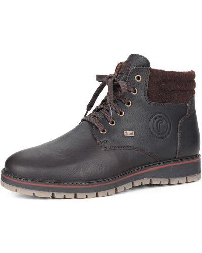 Коричневые ботинки без каблука Rieker