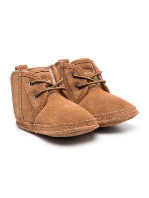 Кожаные угги с мехом на шнуровке Ugg Kids