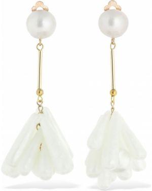 Szare złote kolczyki sztyfty perły Valet Studio
