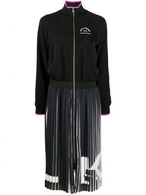 Прямое черное платье миди с поясом Karl Lagerfeld