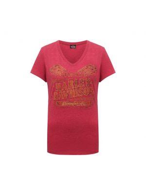 Красная футболка с V-образным вырезом Harley Davidson