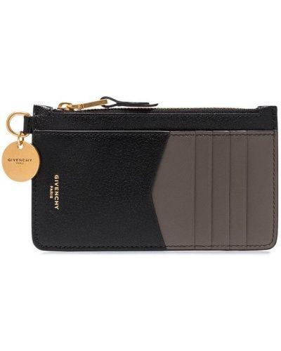 Золотистая черная кожаная визитница Givenchy