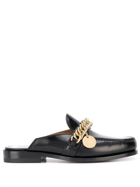 Czarny otwarty loafers z prawdziwej skóry z otwartym tyłem Givenchy
