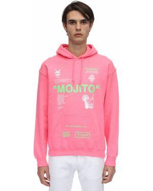 Różowa bluza z kapturem bawełniana Taboo