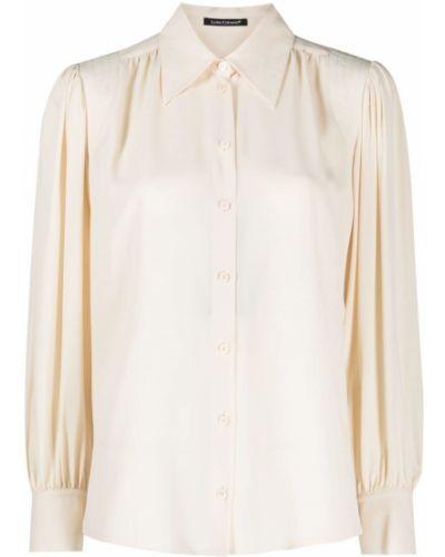 Бежевая шелковая с рукавами блузка Luisa Cerano