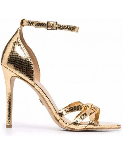 Кожаные босоножки на каблуке золотые Michael Michael Kors