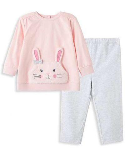 Różowe legginsy bawełniane z długimi rękawami Little Me