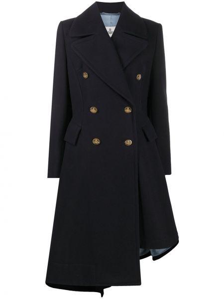 Синее шерстяное пальто двубортное Vivienne Westwood Anglomania