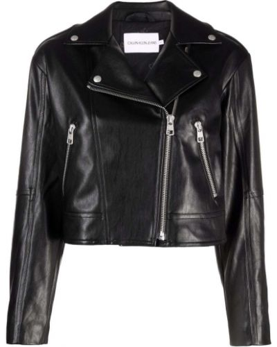 Кожаная куртка длинная - черная Calvin Klein Jeans