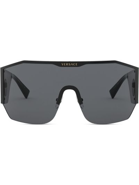 Черная маска для кожи вокруг глаз оверсайз металлическая Versace Eyewear