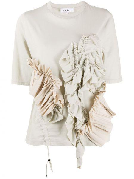 Bawełna beżowy koszula z krótkim rękawem okrągły dekolt krótkie rękawy Enfold