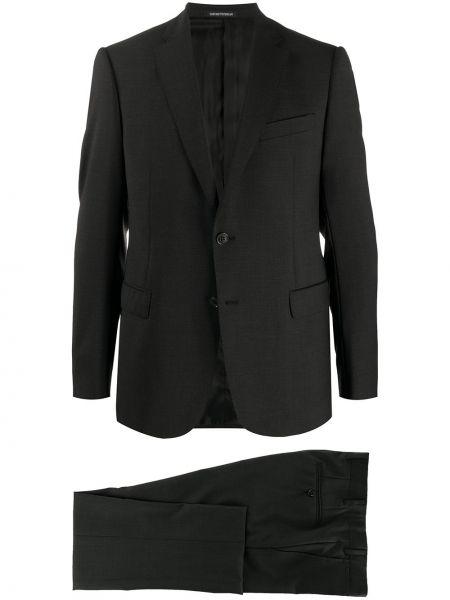 Шерстяной серый деловой костюм классический Emporio Armani