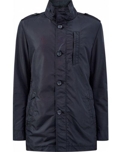 Синяя куртка с капюшоном на пуговицах Cudgi