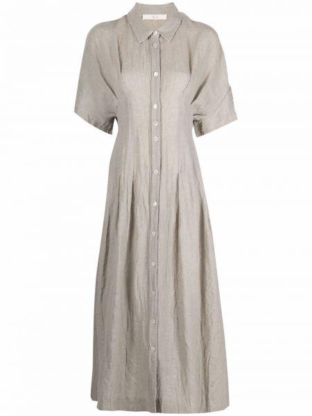 Платье миди с короткими рукавами с воротником из вискозы Tela