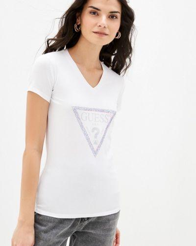 С рукавами белая футболка Guess Jeans