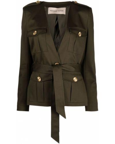 Зеленый удлиненный пиджак с поясом милитари Alexandre Vauthier