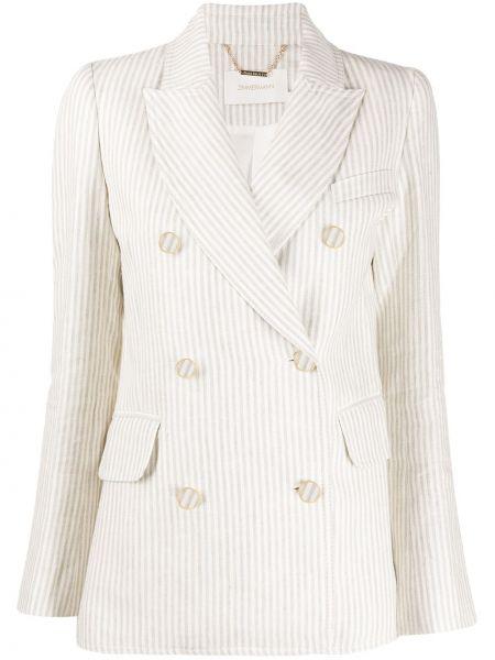 Приталенный белый пиджак двубортный Zimmermann