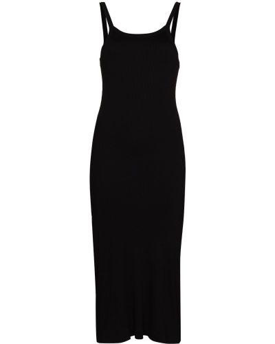 Прямое кожаное черное платье Skin