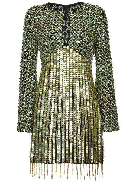 С рукавами зеленое платье макси с пайетками Pinko